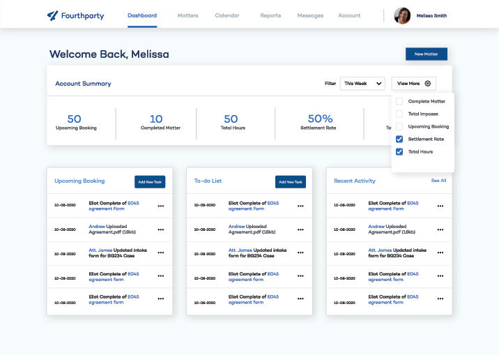 the fourth party dashboard